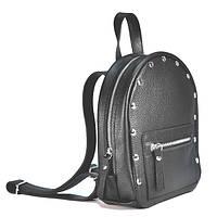 Черный кожаный рюкзак женский мини baby sport black Jizuz