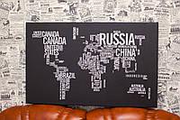 Карта мира. Страны. 50х80 см. Картина на холсте.