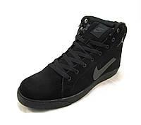 Кросовки мужские Nike с мехом замшевые черно-серые (р.41,43,44,45)