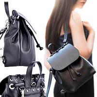 Женский рюкзак из гладкой черной кожи ethnic new black Jizuz