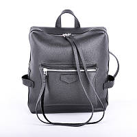 Женский кожаный рюкзак с фактурной кожи virgo black (textured) Jizuz