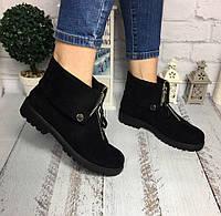 Женские осенние ботинки спереди молния Эко замша черный каблук 3 см