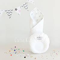 """Набор конверт и подушка для новорожденного """"White Crown"""", фото 1"""