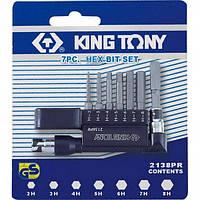 Набор бит KING TONY 2138PR с воротком (7 предметов)