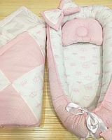 """Кокон гнездышко Babynest """"Розовые точки на розовом + розовые короны на белом"""""""