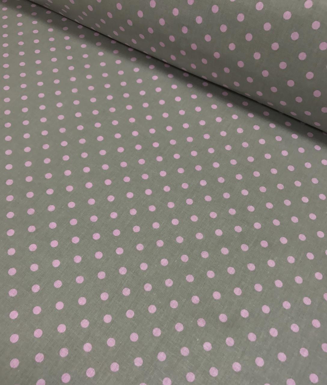 Бавовняна тканина польська горох рожевий на сірому 7 мм №424