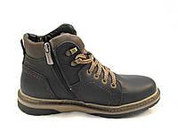 Ботинки подросток Zangak кожаные с мехом черные (р.36,37,38,39)