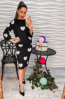Стильный черный женский костюм с сердечками.