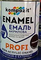Эмаль для дерева и металла водная Profi Kompozit глянец коричневая, 0.8л
