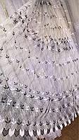 Тюль фатин турецкий с нежными листьями чёрный 208
