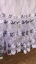 Тюль фатин турецкий с нежными листьями чёрный 208, фото 3