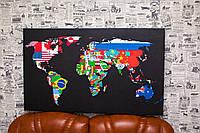 Карта мира. Флаги стран. 60х100 см. Картина на холсте.