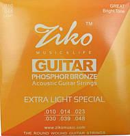 Струны Ziko DP-010 (010-048) для акустической гитары