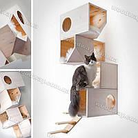 Деревянный модульный домик для кошки, цвет белый