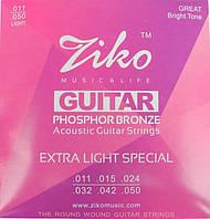 Струны Ziko DP-011 (011-050) для акустической гитары