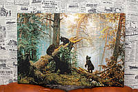 Утро в сосновом лесу. Шишкин и Савицкий. 60х40 см. Репродукция.