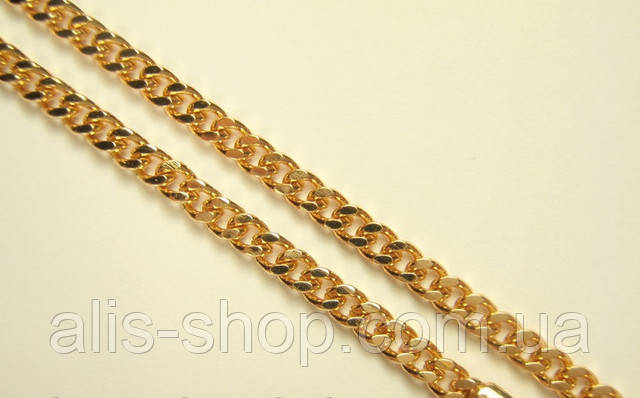 Цепочка Позолота Плетение Миндалина Декор Насечки Крестиком  50 см