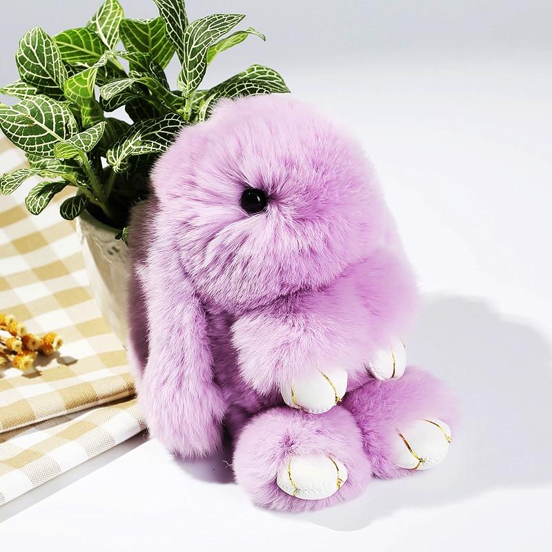 Брелок на сумку кролик из искусственного меха Rex Fendi (Рекс Фенди) фиолетовый, 19 см