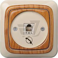 Розетка телефонная Liregus Alfa аппликация дуб ITL-001-01 A/Az