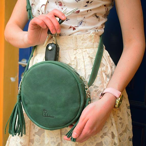 Женская кожаная круглая сумочка Babak 901077 зеленая