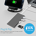 USB Type-C ХАБ Promate Synchub-C3 Grey, фото 3
