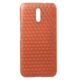 Чехол накладка для Doogee BL5000 пластиковый, Карбон, оранжевый