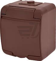 Розетка одинарная наружная с заземлением ETI Hermetics со шторками коричневый 4668050