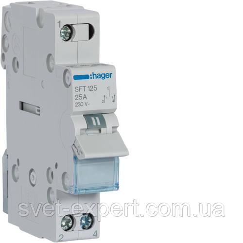 Переключатель I-0-II с общим выходом сверху, 1-пол., 25А/230В, 1м SFT125 (ввод резервного питания) Хагер