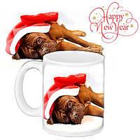 Кружка подарок с принтом Новый год Собаки