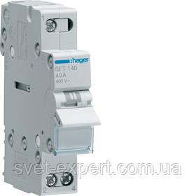 Переключатель I-0-II с общим выходом сверху, 1-пол., 40А / 230В Хагер SFT140