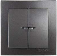 Выключатель двухклавишный двухклавишный  Nilson Touran с подсветкой 10 А 230В  IP20 антрацит 24161004