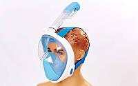 Маска для снорклинга с дыханием через нос F-118-BL (силикон, пластик, крепление для камеры, р-р S-M, L-XL, син