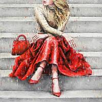 Набор для алмазной мозаики Леди в красном 40 х 40 см (арт. FS634)