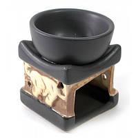 """Аромалампа """"Куб со слонами"""" черно-белая (8х6,5х6,5 см)"""