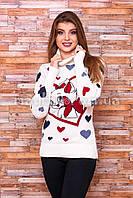 Теплый свитер женский вязаный под горло с рисунком p.44-48 B30-1