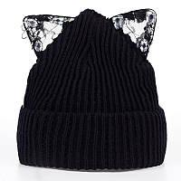 Модная женская трикотажная шапка с ушками черного цвета