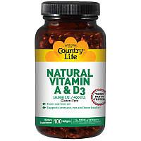 Витамины NATURAL VITAMIN A&D (100 кап) COUNTRY LIFE