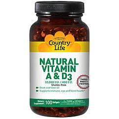 Витамины Natural vitamin A & D (100 капс.) Country Life