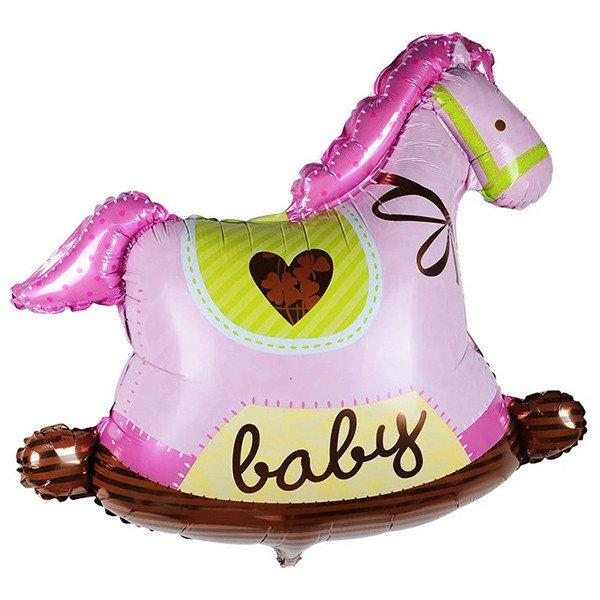 Шар лошадка качалка розовая 90х90 с гелием