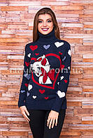 Теплый свитер женский вязаный под горло с рисунком p.44-48 B30-2