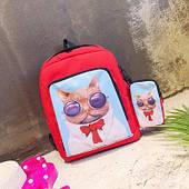 Стильний червоний рюкзак з чохлом Кіт Базіліо