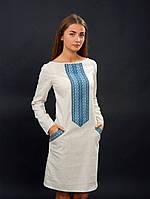 Вышиванка платье с синей нашивкой серого цвета на длинный рукав