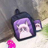 Стильний чорний рюкзак з чохлом Сердитий кіт