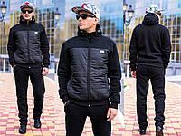 Костюм мужской спортивный на молнии трехнитка  + плащевка черный