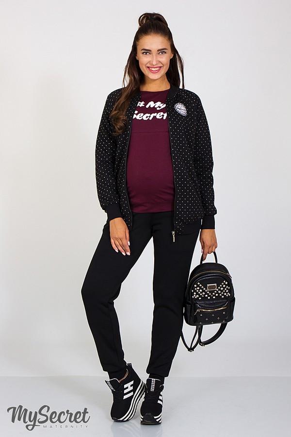 32556a306b9d Теплые брюки для беременных VIA WARM черные купить одежду для ...