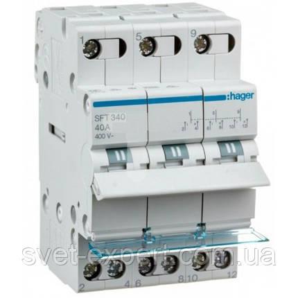 Переключатель I-0-II с общим выходом сверху, 3-пол., 40А / 400В Хагер, фото 2