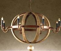 Люстра ALA-009. Дерево с металлом. Винтажная люстра на 6 лампочек.