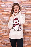 Теплый свитер женский вязаный под горло с рисунком p.44-48 B30-7
