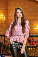 Женский розовая кофта с баской.  Арт-12383
