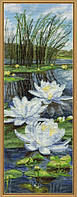 Набор для вышивания нитками на канве с фоновым рисунком Белые лилии